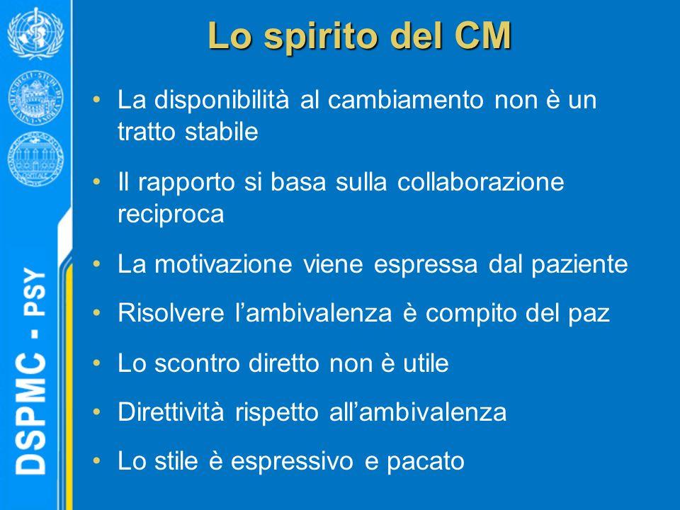 Lo spirito del CM La disponibilità al cambiamento non è un tratto stabile. Il rapporto si basa sulla collaborazione reciproca.