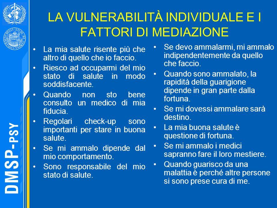 LA VULNERABILITÀ INDIVIDUALE E I FATTORI DI MEDIAZIONE