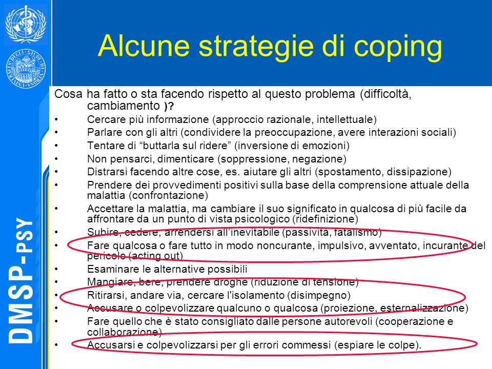 Alcune strategie di coping