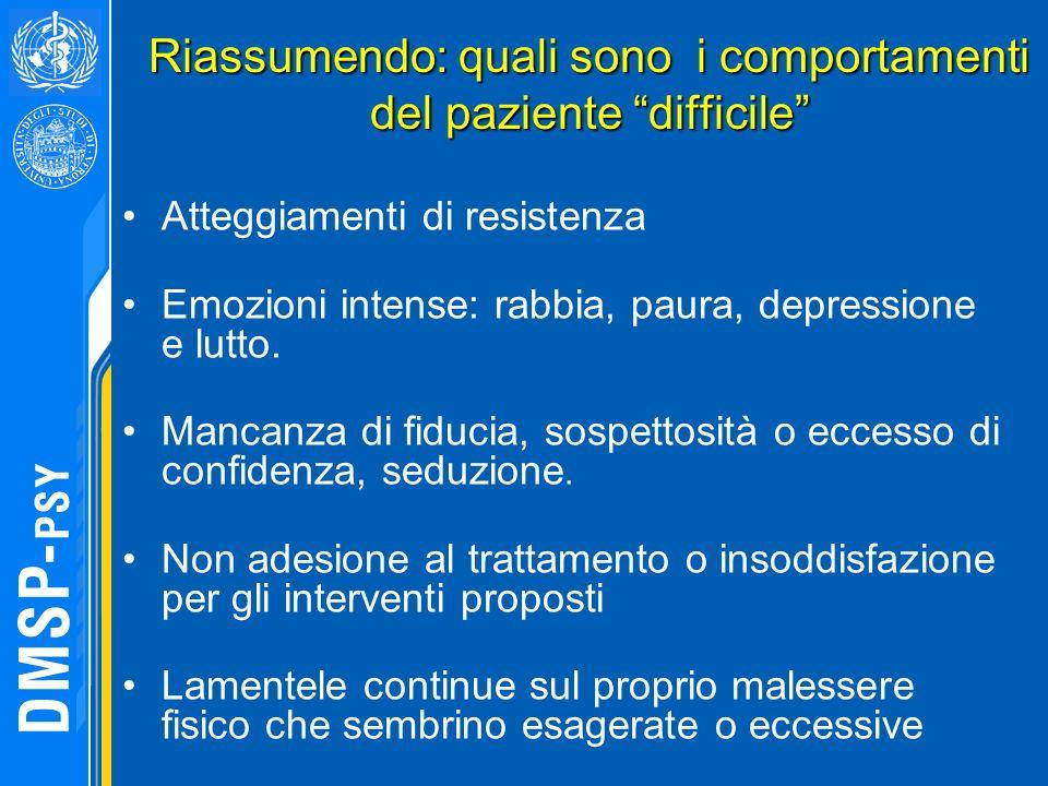 Riassumendo: quali sono i comportamenti del paziente difficile