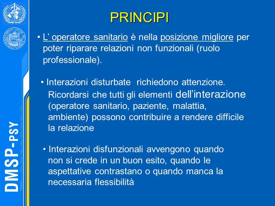 PRINCIPI L' operatore sanitario è nella posizione migliore per poter riparare relazioni non funzionali (ruolo professionale).