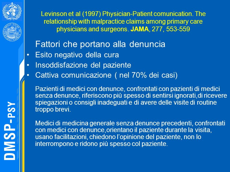 Levinson et al (1997) Physician-Patient comunication