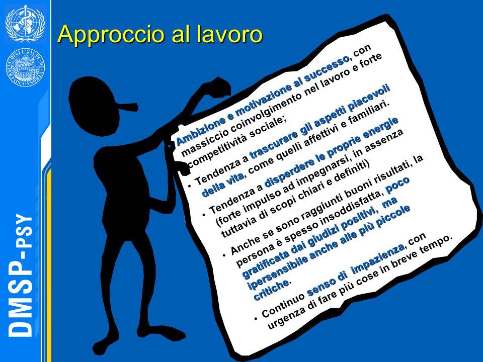 Approccio al lavoro Ambizione e motivazione al successo, con massiccio coinvolgimento nel lavoro e forte competitività sociale;