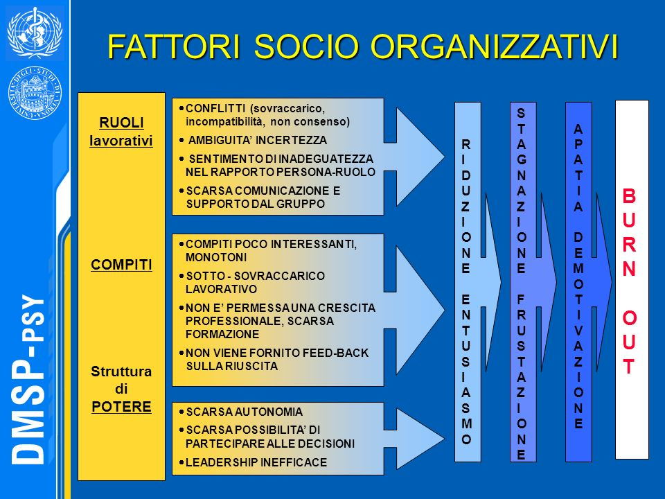 FATTORI SOCIO ORGANIZZATIVI