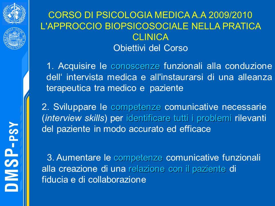 CORSO DI PSICOLOGIA MEDICA A.A 2009/2010