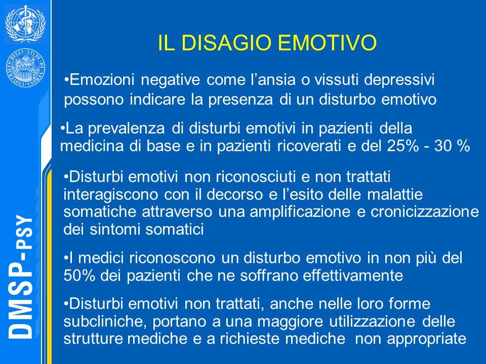 IL DISAGIO EMOTIVO Emozioni negative come l'ansia o vissuti depressivi possono indicare la presenza di un disturbo emotivo.