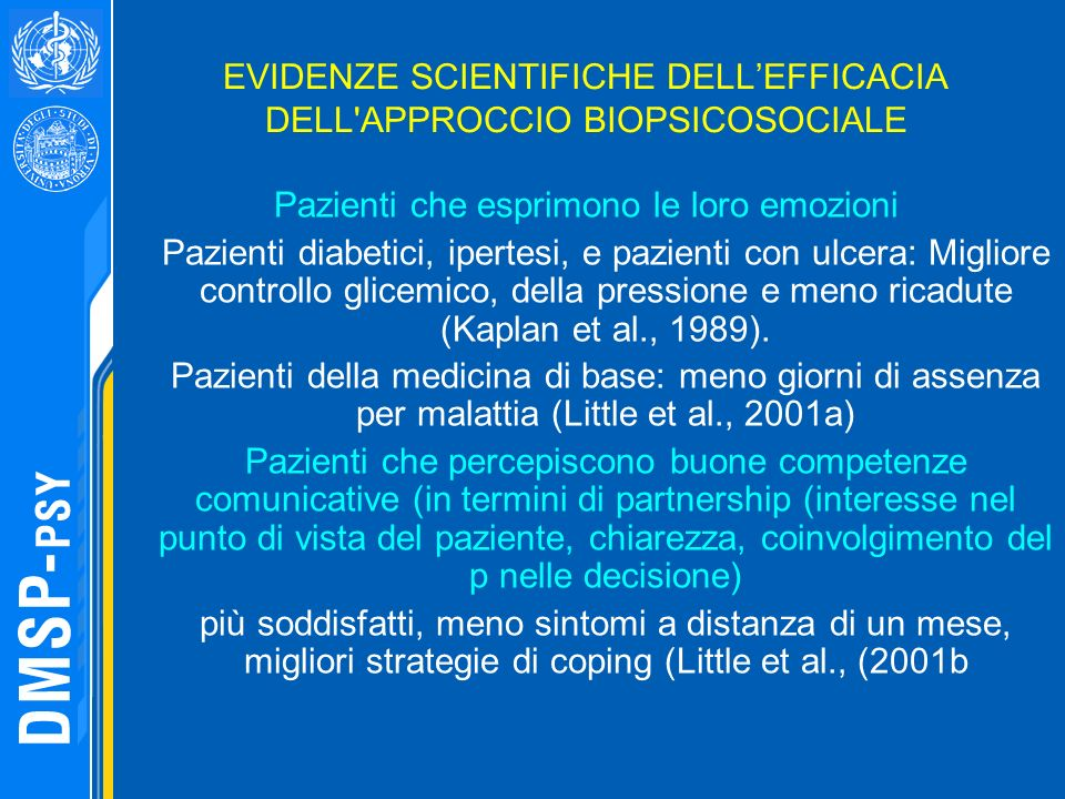 EVIDENZE SCIENTIFICHE DELL'EFFICACIA DELL APPROCCIO BIOPSICOSOCIALE