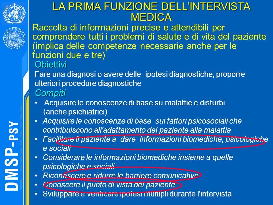 LA PRIMA FUNZIONE DELL'INTERVISTA MEDICA