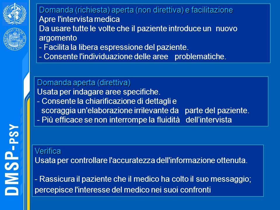 Domanda (richiesta) aperta (non direttiva) e facilitazione