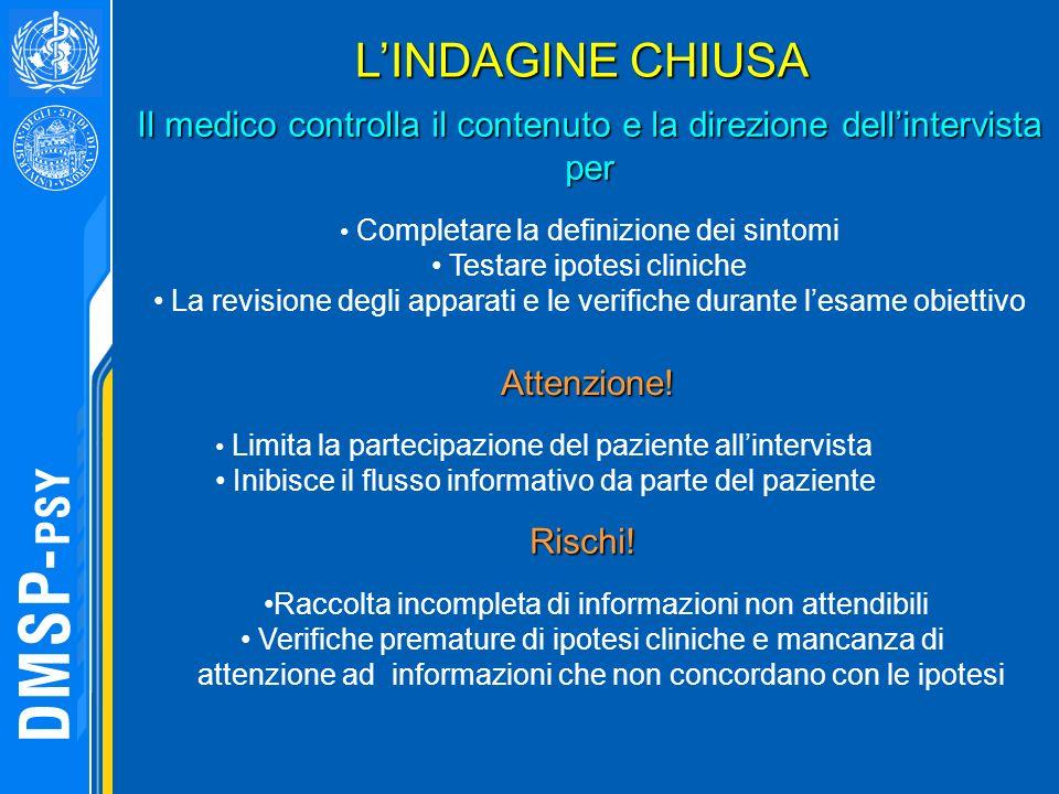 L'INDAGINE CHIUSA Il medico controlla il contenuto e la direzione dell'intervista per. Completare la definizione dei sintomi.