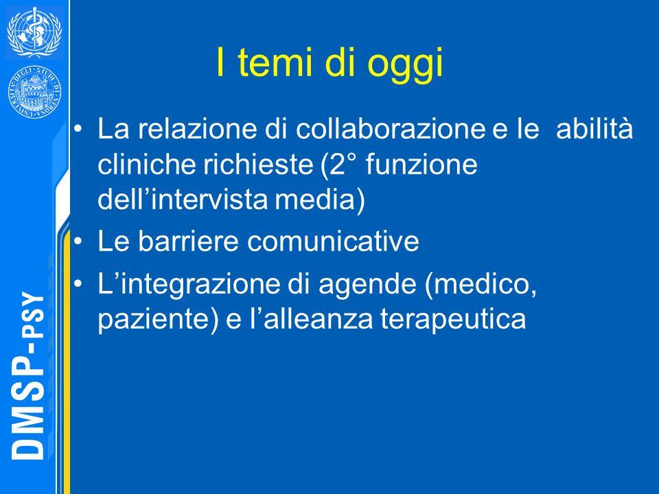 I temi di oggi La relazione di collaborazione e le abilità cliniche richieste (2° funzione dell'intervista media)