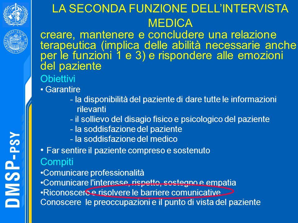 LA SECONDA FUNZIONE DELL'INTERVISTA MEDICA