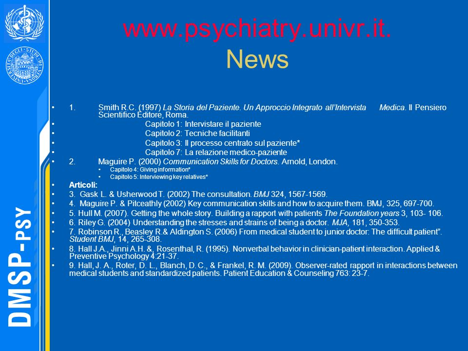 www.psychiatry.univr.it. News