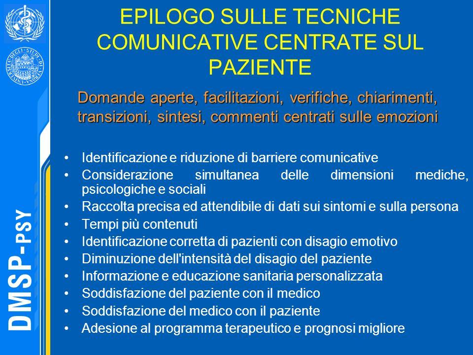 EPILOGO SULLE TECNICHE COMUNICATIVE CENTRATE SUL PAZIENTE