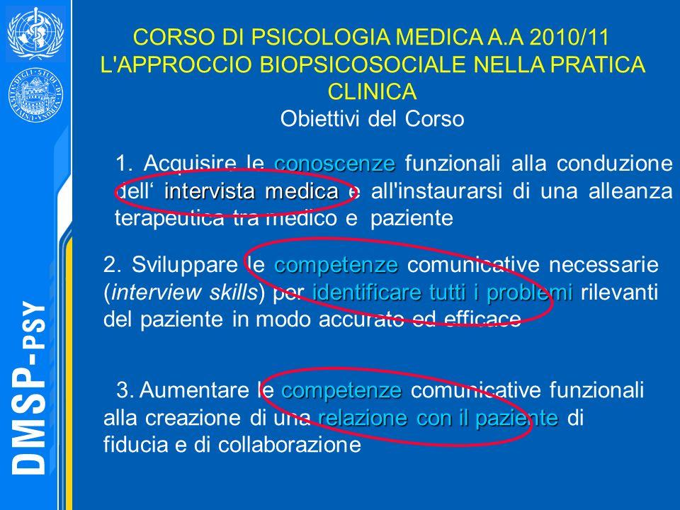CORSO DI PSICOLOGIA MEDICA A.A 2010/11