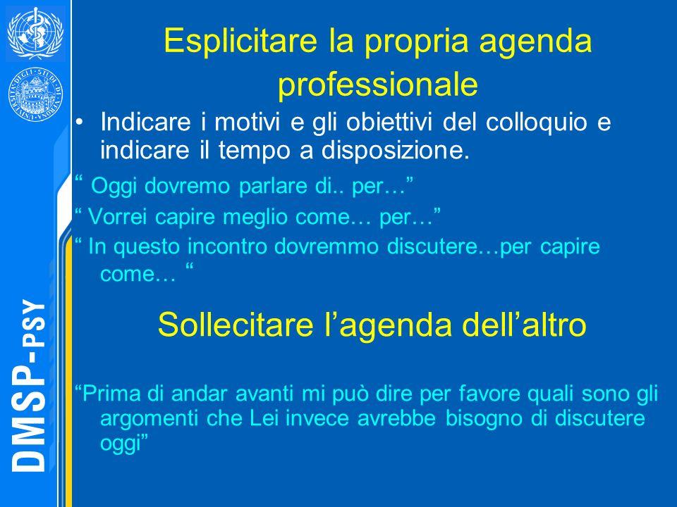 Esplicitare la propria agenda professionale