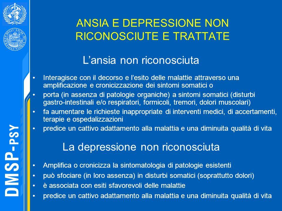 ANSIA E DEPRESSIONE NON RICONOSCIUTE E TRATTATE