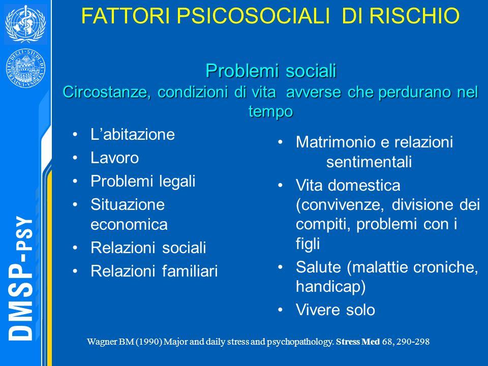 FATTORI PSICOSOCIALI DI RISCHIO