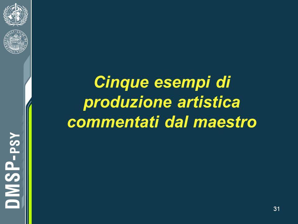 Cinque esempi di produzione artistica commentati dal maestro