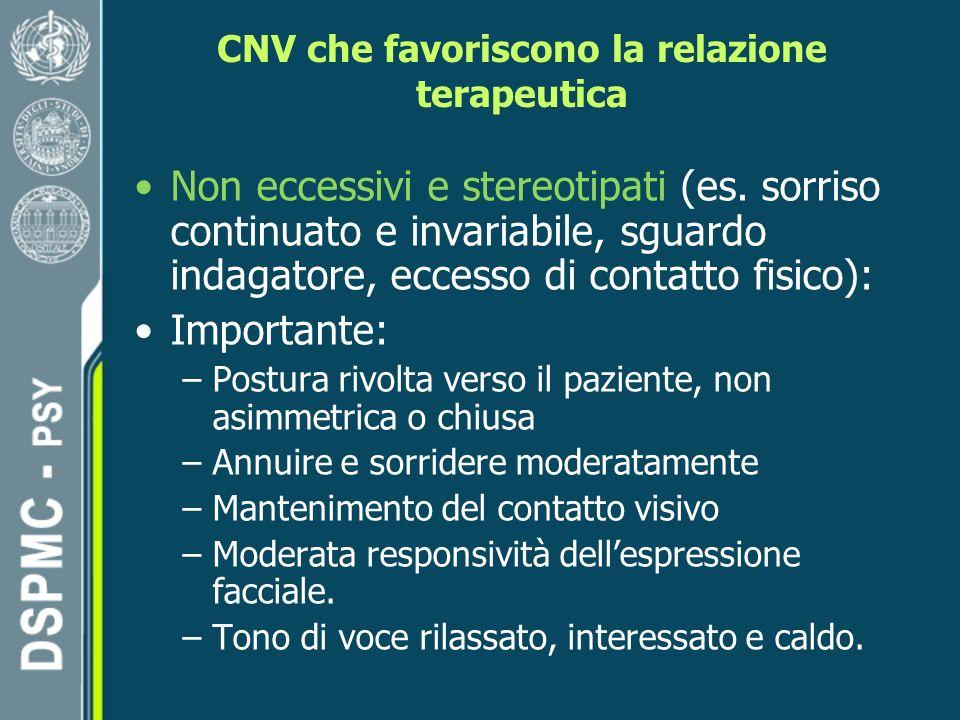 CNV che favoriscono la relazione terapeutica