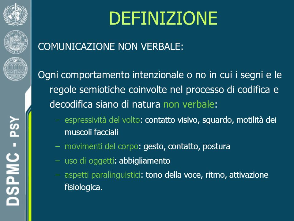 DEFINIZIONE COMUNICAZIONE NON VERBALE: