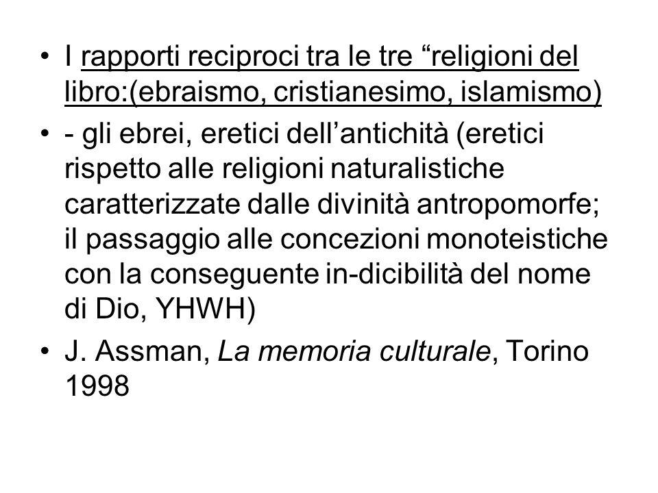 I rapporti reciproci tra le tre religioni del libro:(ebraismo, cristianesimo, islamismo)