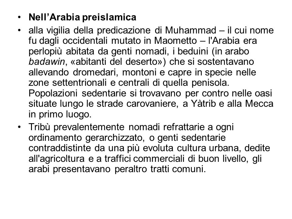 Nell'Arabia preislamica
