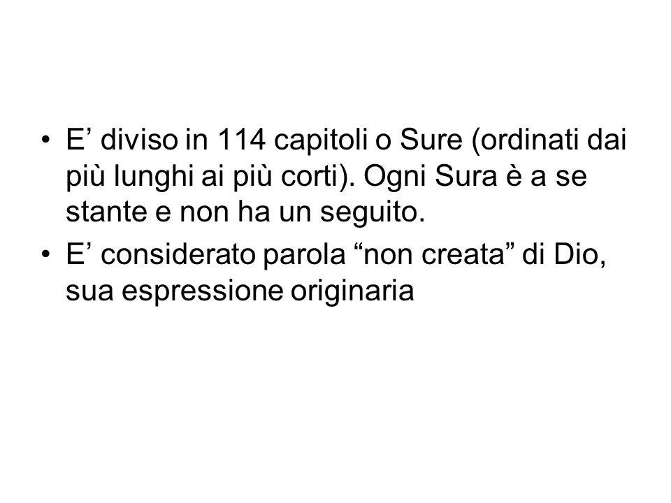 E' diviso in 114 capitoli o Sure (ordinati dai più lunghi ai più corti). Ogni Sura è a se stante e non ha un seguito.