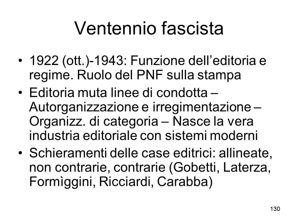 Ventennio fascista 1922 (ott.)-1943: Funzione dell'editoria e regime. Ruolo del PNF sulla stampa.