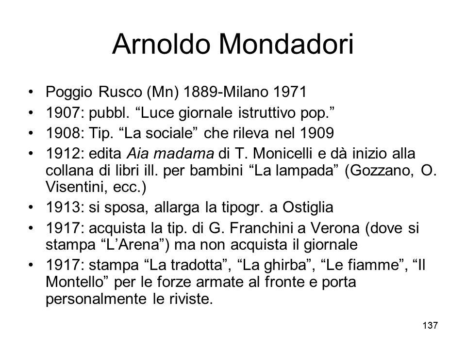 Arnoldo Mondadori Poggio Rusco (Mn) 1889-Milano 1971