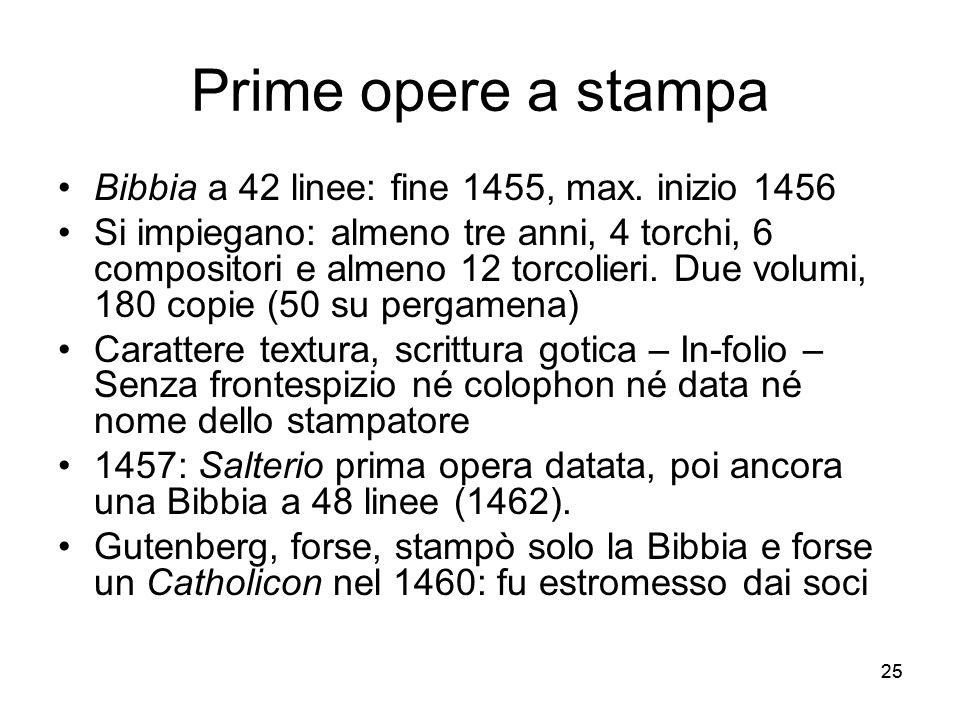 Prime opere a stampa Bibbia a 42 linee: fine 1455, max. inizio 1456