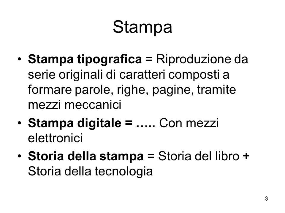 Stampa Stampa tipografica = Riproduzione da serie originali di caratteri composti a formare parole, righe, pagine, tramite mezzi meccanici.