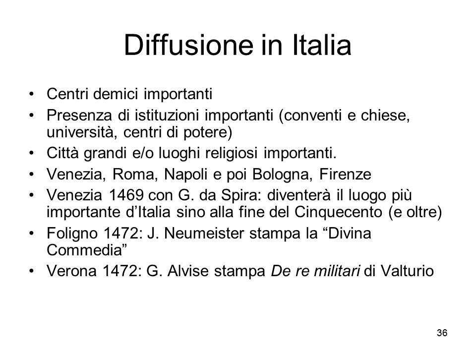 Diffusione in Italia Centri demici importanti
