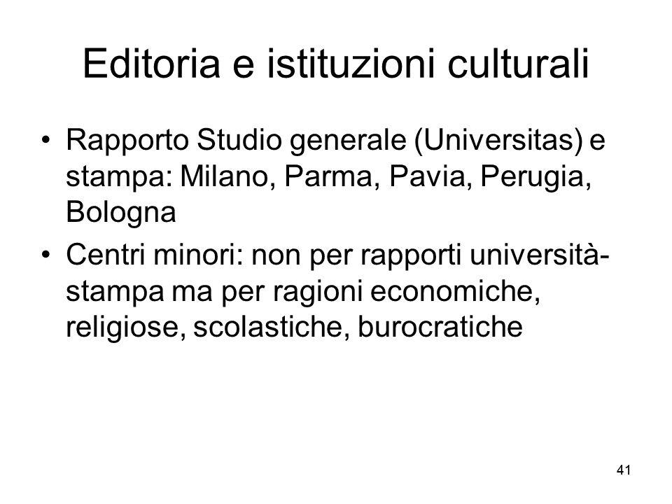 Editoria e istituzioni culturali