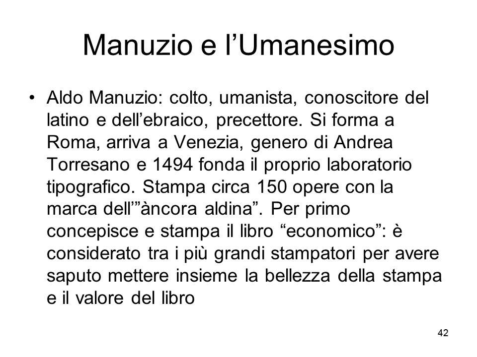 Manuzio e l'Umanesimo