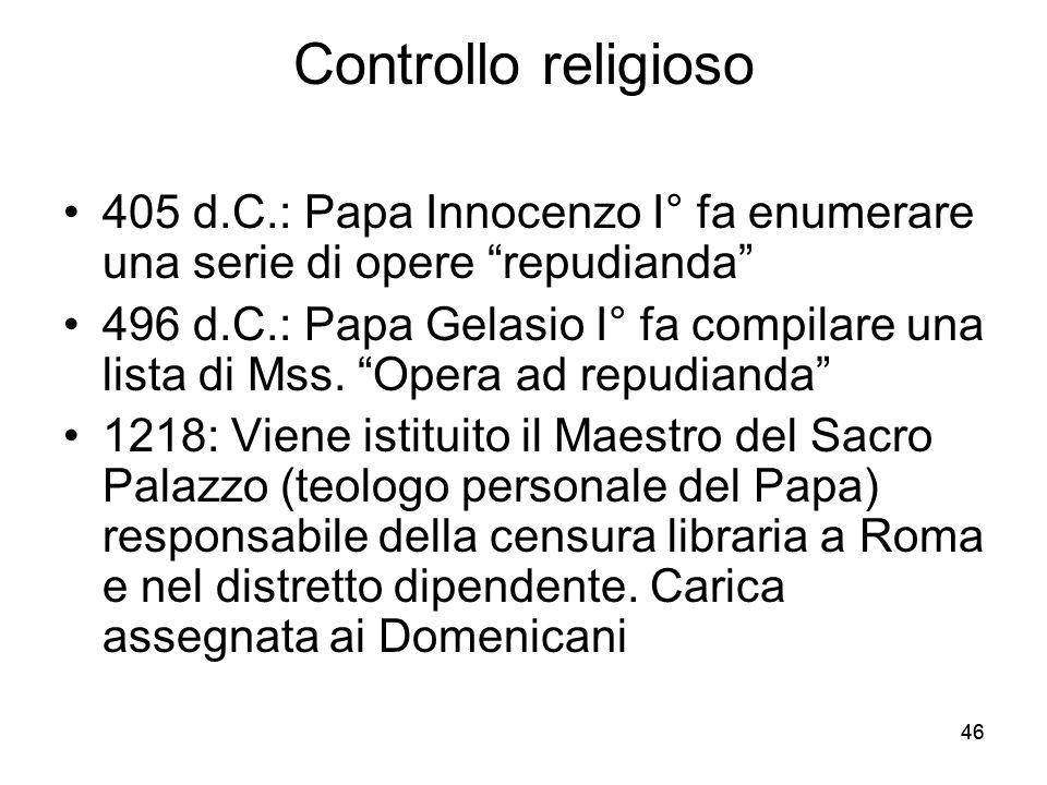Controllo religioso 405 d.C.: Papa Innocenzo I° fa enumerare una serie di opere repudianda