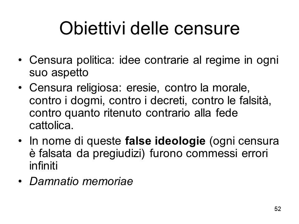 Obiettivi delle censure