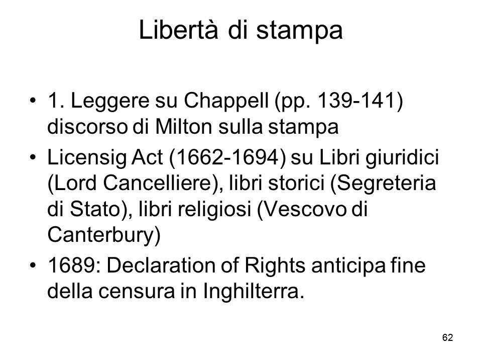 Libertà di stampa 1. Leggere su Chappell (pp. 139-141) discorso di Milton sulla stampa.