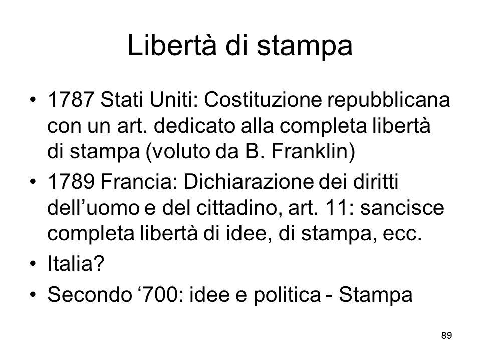 Libertà di stampa 1787 Stati Uniti: Costituzione repubblicana con un art. dedicato alla completa libertà di stampa (voluto da B. Franklin)