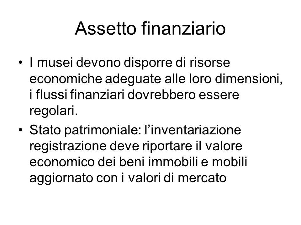 Assetto finanziario I musei devono disporre di risorse economiche adeguate alle loro dimensioni, i flussi finanziari dovrebbero essere regolari.