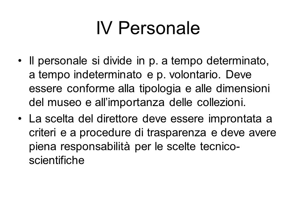 IV Personale