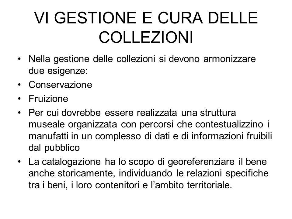 VI GESTIONE E CURA DELLE COLLEZIONI