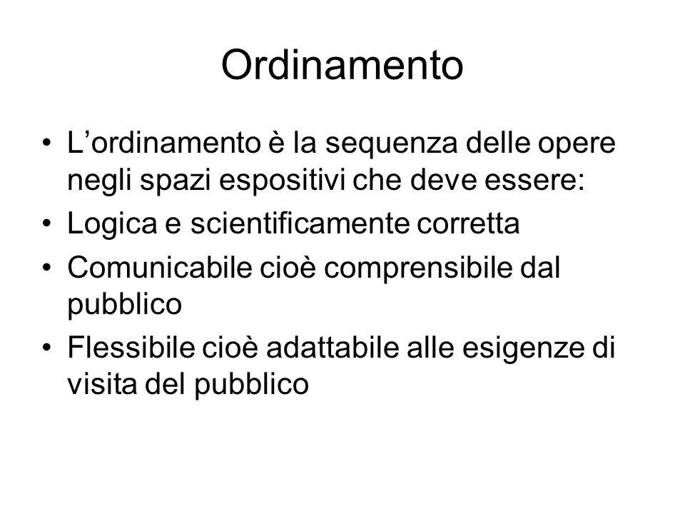 Ordinamento L'ordinamento è la sequenza delle opere negli spazi espositivi che deve essere: Logica e scientificamente corretta.