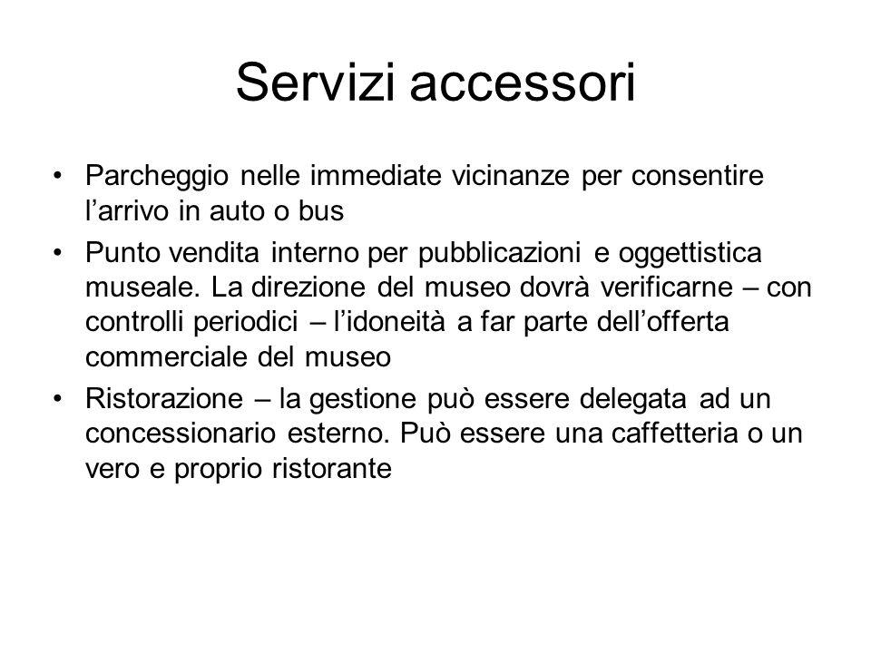 Servizi accessori Parcheggio nelle immediate vicinanze per consentire l'arrivo in auto o bus.