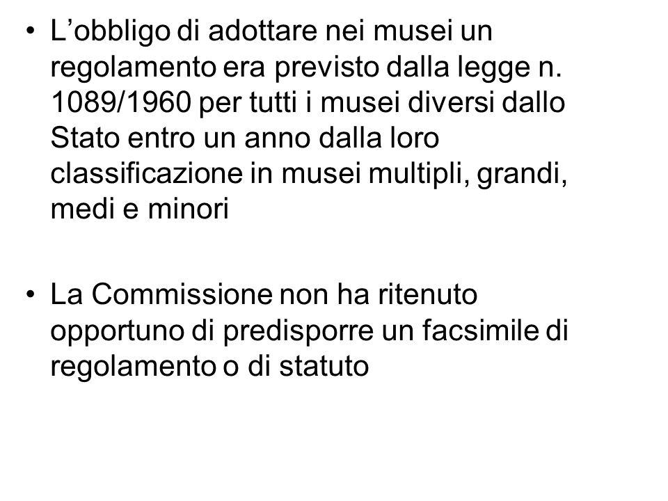 L'obbligo di adottare nei musei un regolamento era previsto dalla legge n. 1089/1960 per tutti i musei diversi dallo Stato entro un anno dalla loro classificazione in musei multipli, grandi, medi e minori