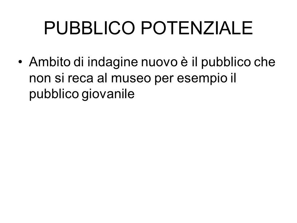PUBBLICO POTENZIALE Ambito di indagine nuovo è il pubblico che non si reca al museo per esempio il pubblico giovanile.