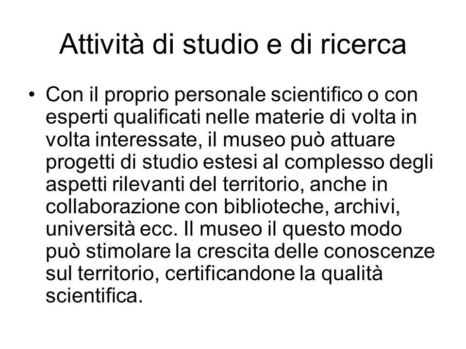 Attività di studio e di ricerca