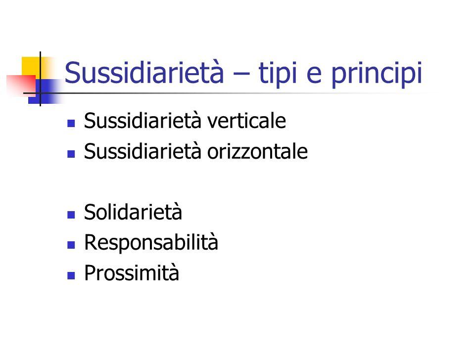 Sussidiarietà – tipi e principi