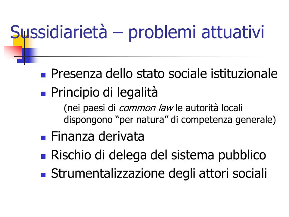 Sussidiarietà – problemi attuativi