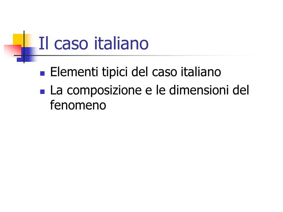 Il caso italiano Elementi tipici del caso italiano